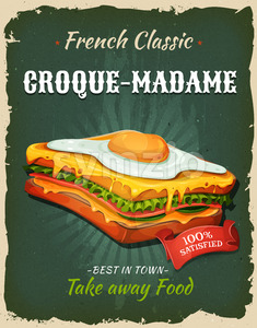 Retro Fast Food French Sandwich Poster Stock Vector