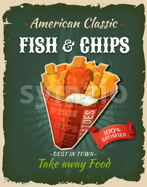 Retro Fast Food Fish And Chips Poster Stock Vector