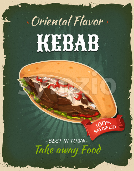 Retro Fast Food Kebab Sandwich Poster Stock Vector