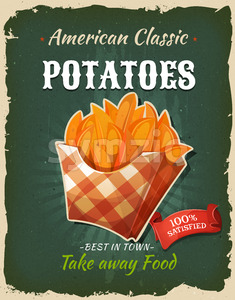 Retro Fast Food Fried Potatoes Poster Stock Vector