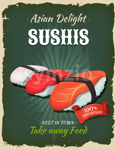 Retro Japanese Sushis Poster Stock Vector