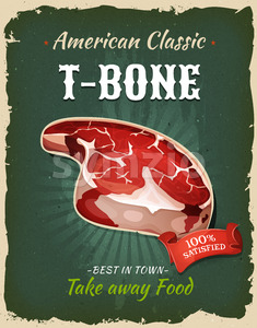 Retro Fast Food T-Bone Steak Poster Stock Vector