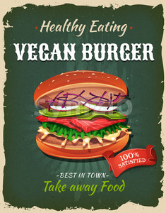Retro Fast Food Vegan Burger Poster Stock Vector
