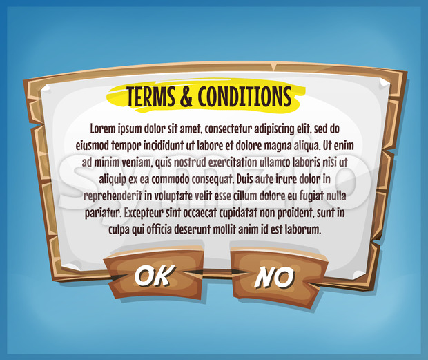 Wood Terms And Conditions Agreement Panel For Ui Game Stock Vector