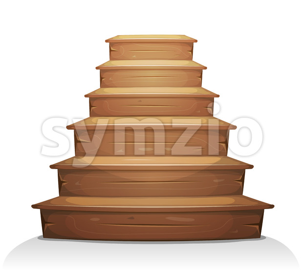Wood Stairs Stock Vector