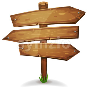 Wood Stake With Direction Signs Arrows Stock Vector