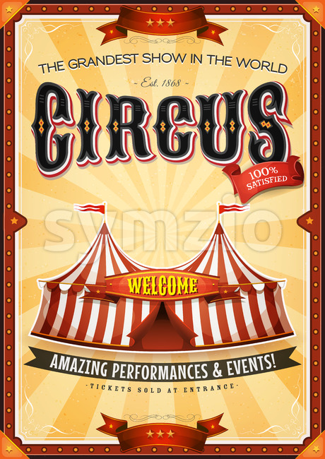 Vintage Grand Circus Poster With Marquee Stock Vector