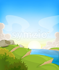 Summer Ocean Landscape Stock Vector