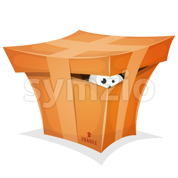 Illustration of a cartoon funny cardboard box, with funny eyes looking from inside