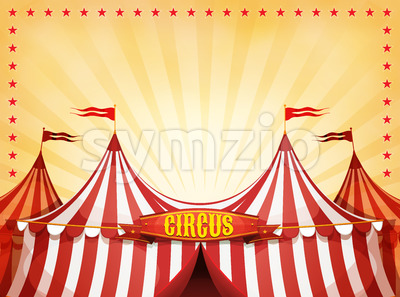 Big Top Circus Background With Banner Stock Vector