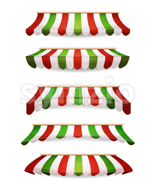 Italian Striped Awnings For Market Store Stock Vector