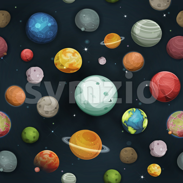 Seamless Planets And Asteroid Background Stock Vector