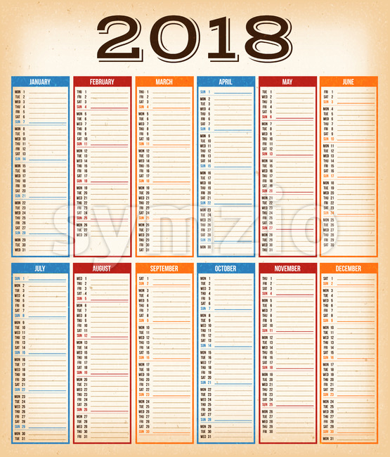 Vintage Design Calendar For Year 2018 Stock Vector