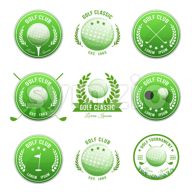 Illustration of a set of golf banner with imagery elements of this sport, ball, flag and putting green