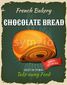 Retro Chocolate Bread Poster Stock Vector