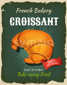 Retro French Croissant Poster Stock Vector