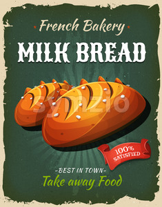 Retro Milk Bread Poster Stock Vector