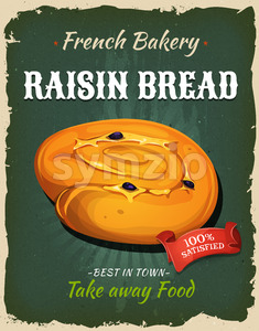 Retro Raisin Bread Poster Stock Vector