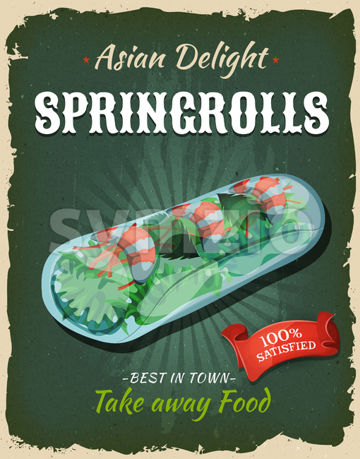 Retro Japanese Springrolls Poster Stock Vector
