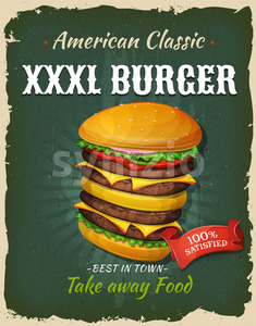 Retro Fast Food King Size Burger Poster Stock Vector