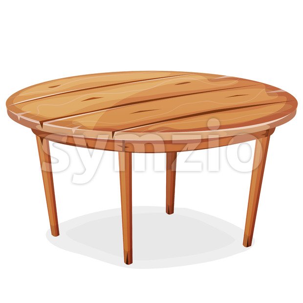 Illustration of a cartoon funny rounded wooden kitchen or garden table, isolated on white background for creation of home interior ...
