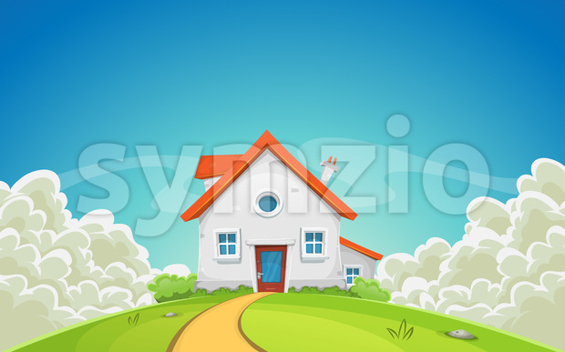 House Inside Nature Landscape With Clouds Stock Vector