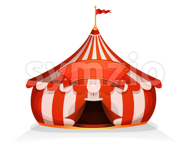 Big Top Little Circus Tent With Banner Stock Vector
