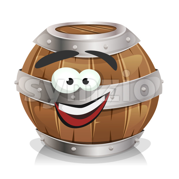 Happy Wood Barrel Character Stock Vector