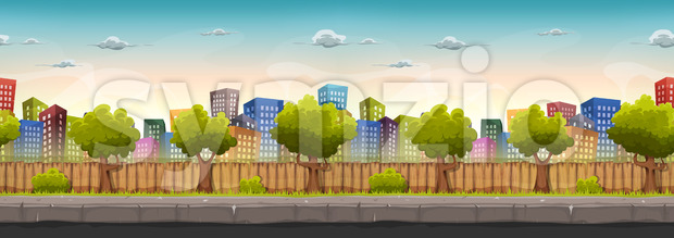Illustration of a wide cartoon seamless urban city landscape with funny buildings and skyscrapers, for game ui scenery
