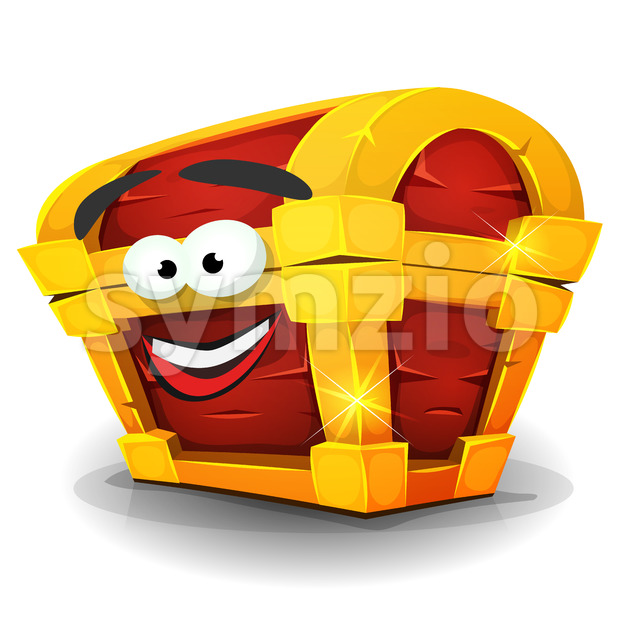 Illustration of a cartoon treasure chest character, happy and smiling, golden and wooden
