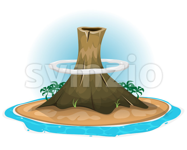 Volcano On Desert Island Stock Vector