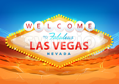Welcome To Las Vegas Sign On Desert Background Stock Vector