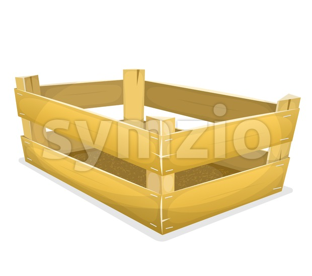 Illustration of a cartoon wooden crate, for carrying fruits and vegetables inside grocery