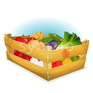 Basket Of Healthy Vegetables Stock Vector