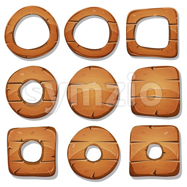 Wood Rings, Circles And Shapes For Ui Game Stock Vector
