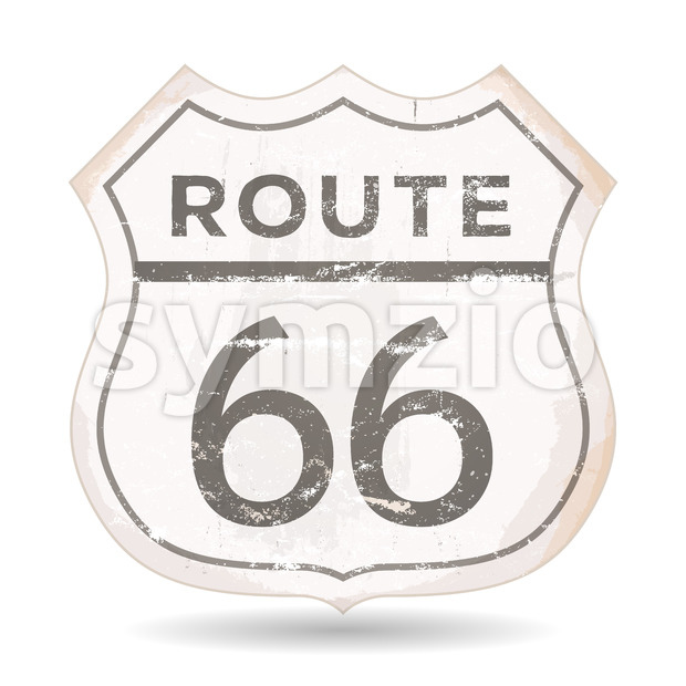 Route 66 Icon With Grunge And Rust Textures Stock Vector