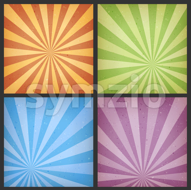 Abstract Sunbeams Backgrounds Set Stock Vector