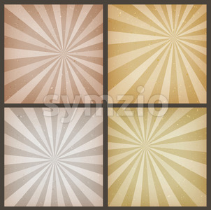Abstract Vintage Sunbeams Backgrounds Set Stock Vector