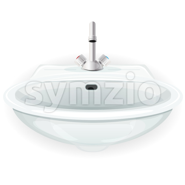 Bathroom Sink With Tap Stock Vector
