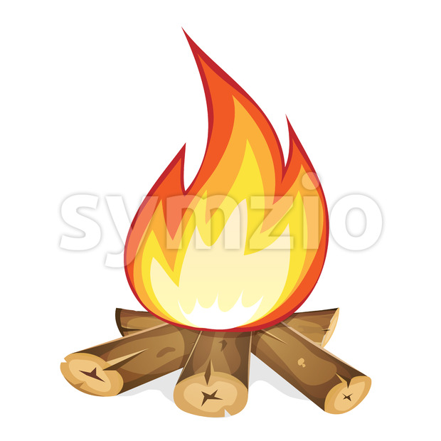 Burning Bonfire With Wood Stock Vector