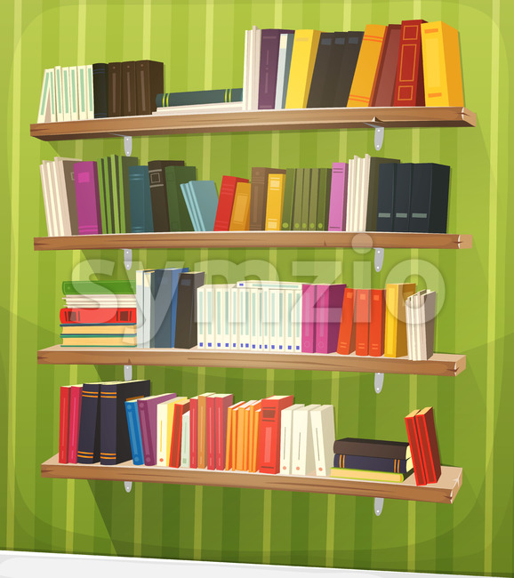 Cartoon Library Bookshelf On The Wall Stock Vector
