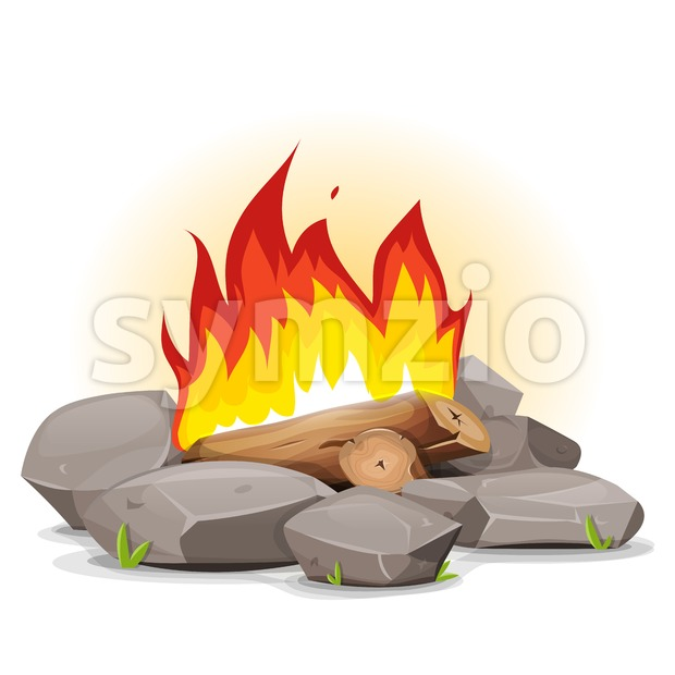 Campfire With Burning Flames Stock Vector
