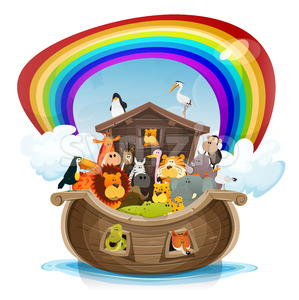 Noah's Ark With Rainbow Stock Vector
