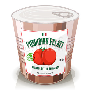 Organic Peeled Tomatoes In Can Stock Vector