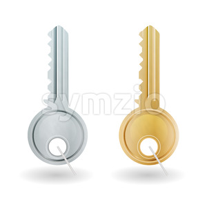 Golden And Silver Key Icon Stock Vector