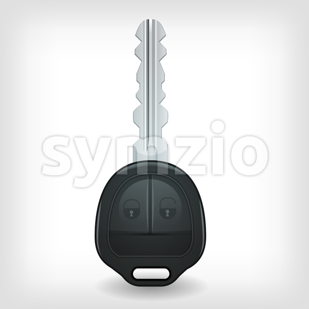 Illustration of a car key, with lock and unlock buttons