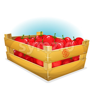 Crate With Tomatoes Stock Vector