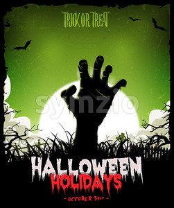 Halloween Background With Undead Zombie Hand Stock Vector