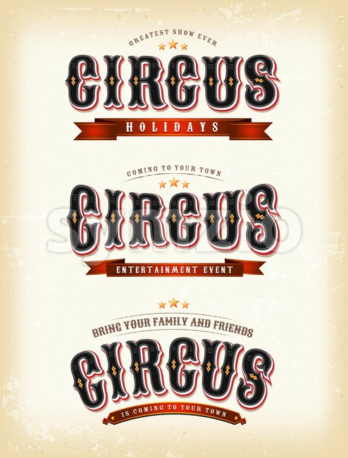 Circus Banners On Vintage background Stock Vector