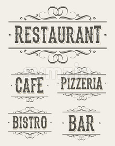 Vintage Restaurant And Pizzeria Banners Stock Vector